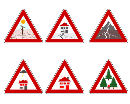 Traffic warning sign natural disasters Banco de Imagens - 122189639