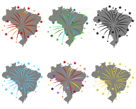 Map of Brazil with fireworks
