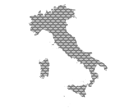 Map of Italy coarse meshed 写真素材