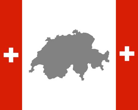 Flag of Switzerland and map Standard-Bild - 123675508