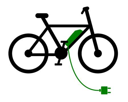 E-bike at recharging station on white