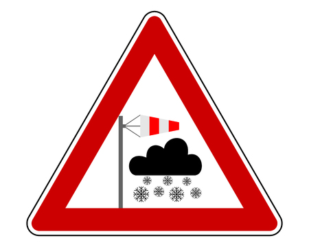 Traffic warning sign blizzard on white Ilustrace