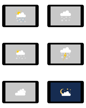 Various weathers symbols on Tablet Vectores