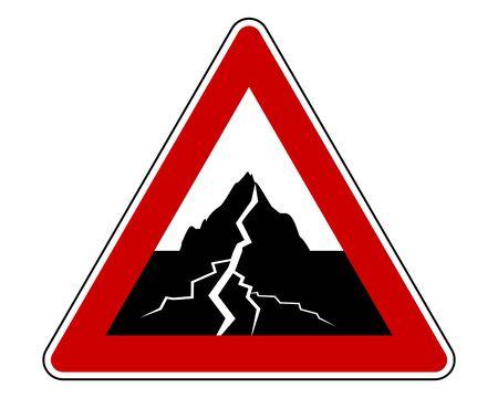 Traffic sign with earthquake Illusztráció