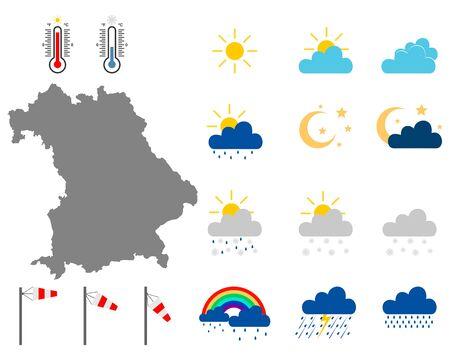 Mapa de Baviera con símbolos meteorológicos