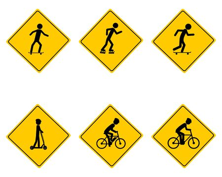 Traffic warning sign for various sports