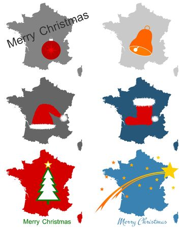 Maps of France with Christmas symbols