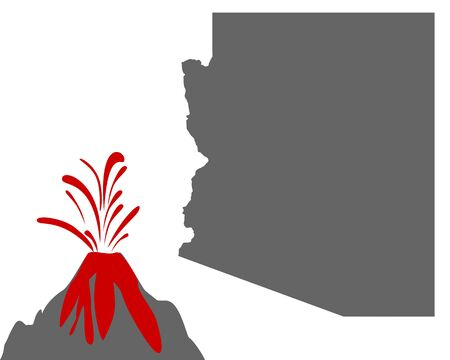 Map of Arizona with volcano  Иллюстрация