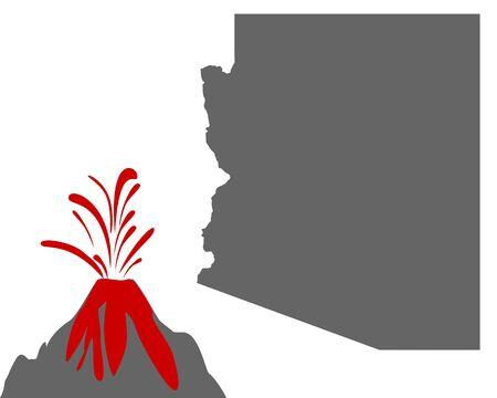 Map of Arizona with volcano Stock fotó - 129526695