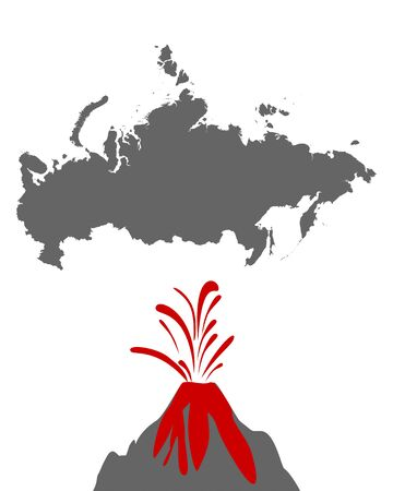 Map of Russia with volcano