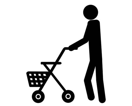 Person walking with rollator on white
