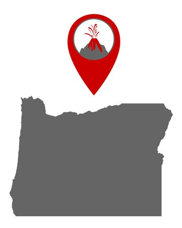 Map of Oregon with volcano locator