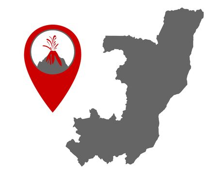 Map of the Congo with volcano locator Иллюстрация