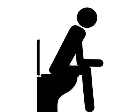 Person sitting on toilet on white