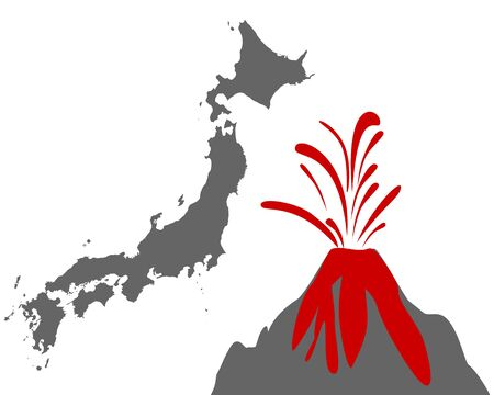 Map of Japan with volcano Иллюстрация