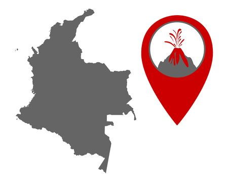 Map of Colombia with volcano locator
