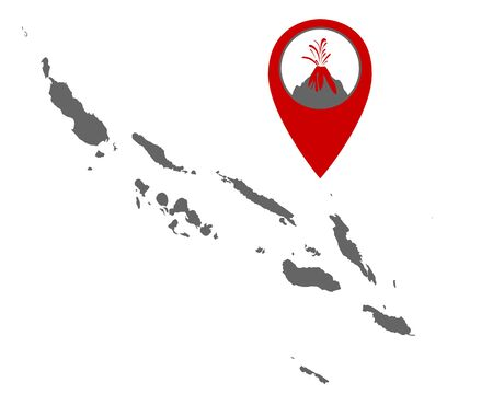 Map of the Solomon Islands with volcano locator Иллюстрация