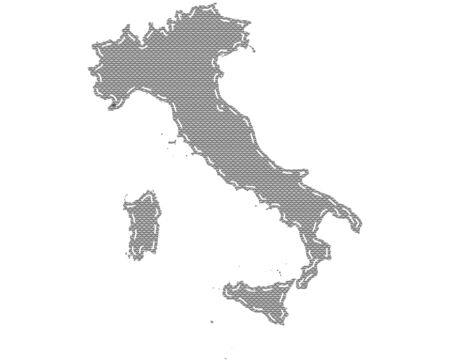 Map of Italy  on cloth with stitches 矢量图像