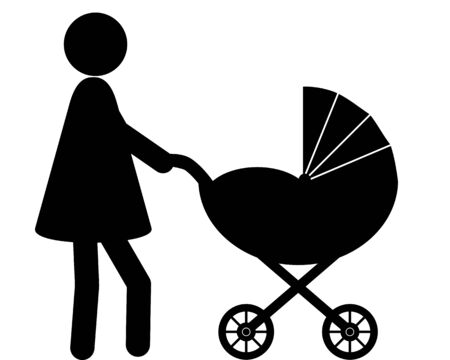 Woman and baby with baby carriage Vecteurs
