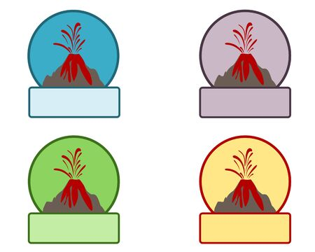 Emblem with volcano eruption and copy space