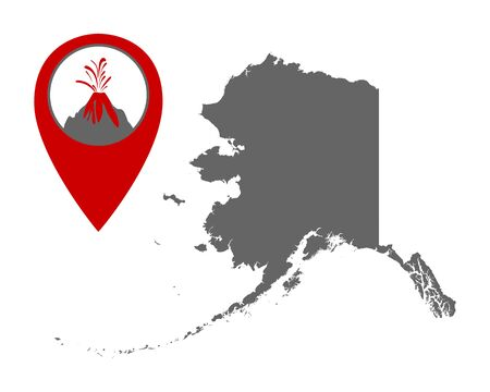 Map of Alaska with volcano locator
