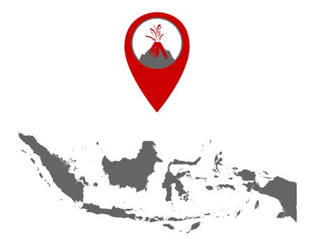 Map of Indonesia with volcano locator