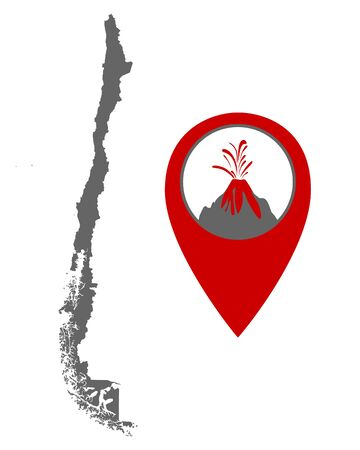 Map of Chile with volcano locator