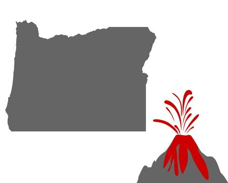 Map of Oregon with volcano