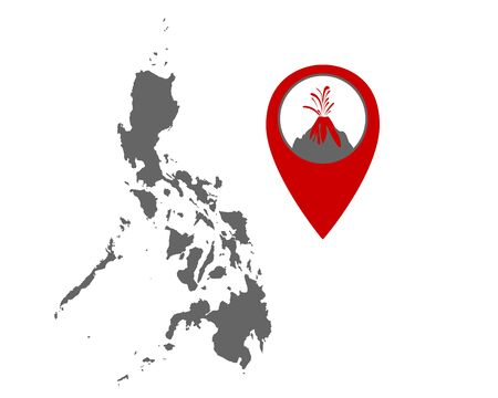 Map of the Philippines with volcano locator