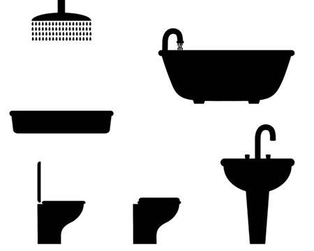 Bathroom facilities on white background Иллюстрация