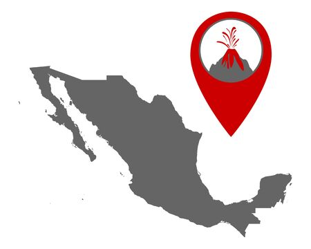 Map of Mexico with volcano locator Иллюстрация