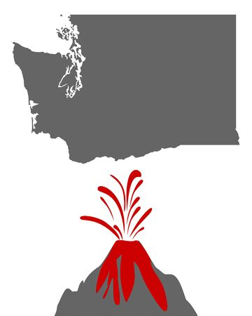 Map of Washington with volcano Иллюстрация