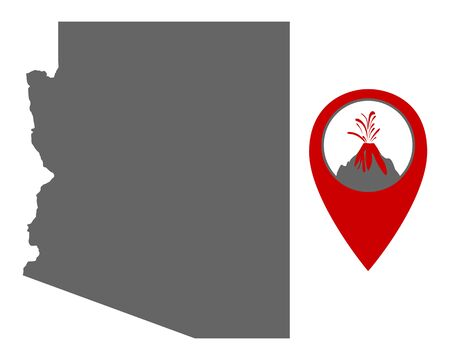 Map of Arizona with volcano locator