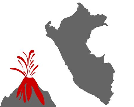 Map of Peru with volcano