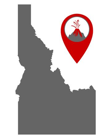 Map of Idaho with volcano locator Иллюстрация