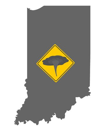 Map of Indiana and traffic sign tornado warning  イラスト・ベクター素材