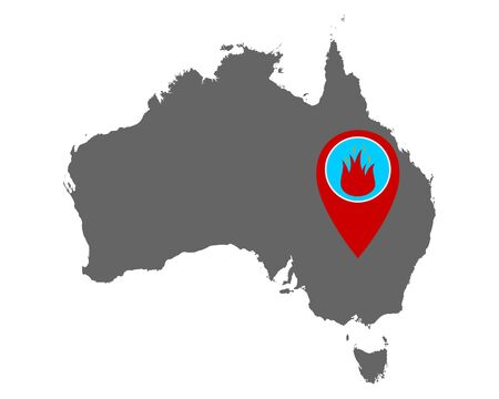 Map of Australia and pin with fire warning