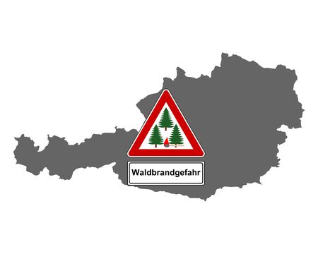 Map of Austria and traffic sign forest fire