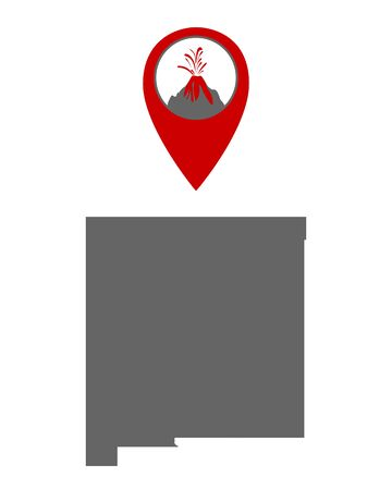 Map of New Mexico with volcano locator