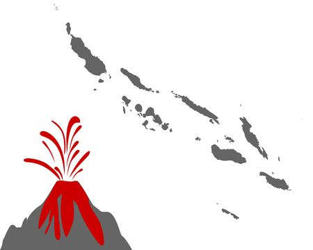 Map of the Solomon Islands with volcano