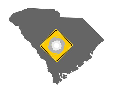 Map of South Carolina and traffic sign hurricane warning