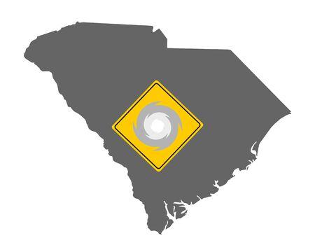 Map of South Carolina and traffic sign hurricane warning  イラスト・ベクター素材