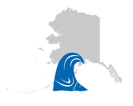 Map of Alaska and tsunami symbol