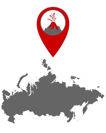 Map of Russia with volcano locator