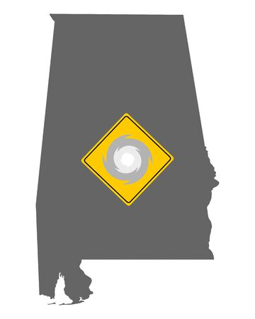 Map of Alabama and traffic sign hurricane warning