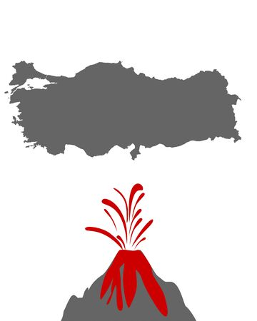 Map of Turkey with volcano
