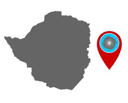 Map of Zimbabwe and pin with hurricane warning