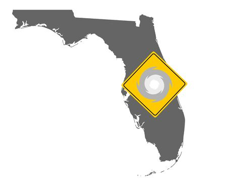 Map of Florida and traffic sign hurricane warning