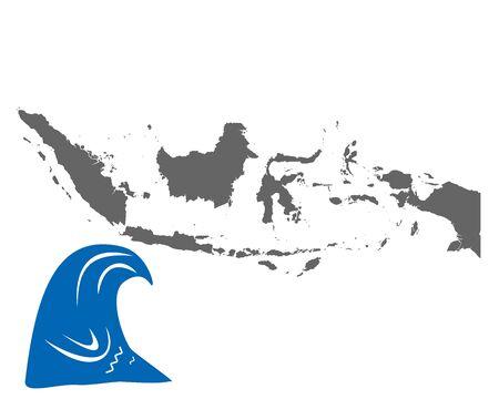 Map of Indonesia and tsunami symbol