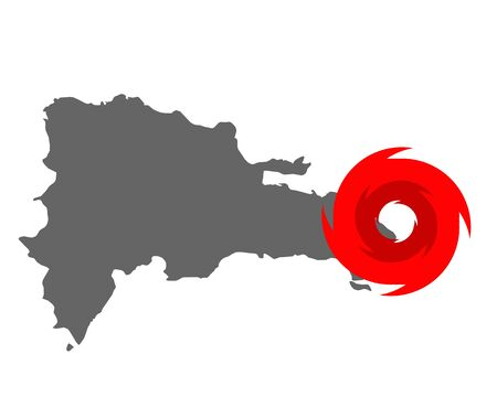 Map of the Dominican Republic and hurricane symbol
